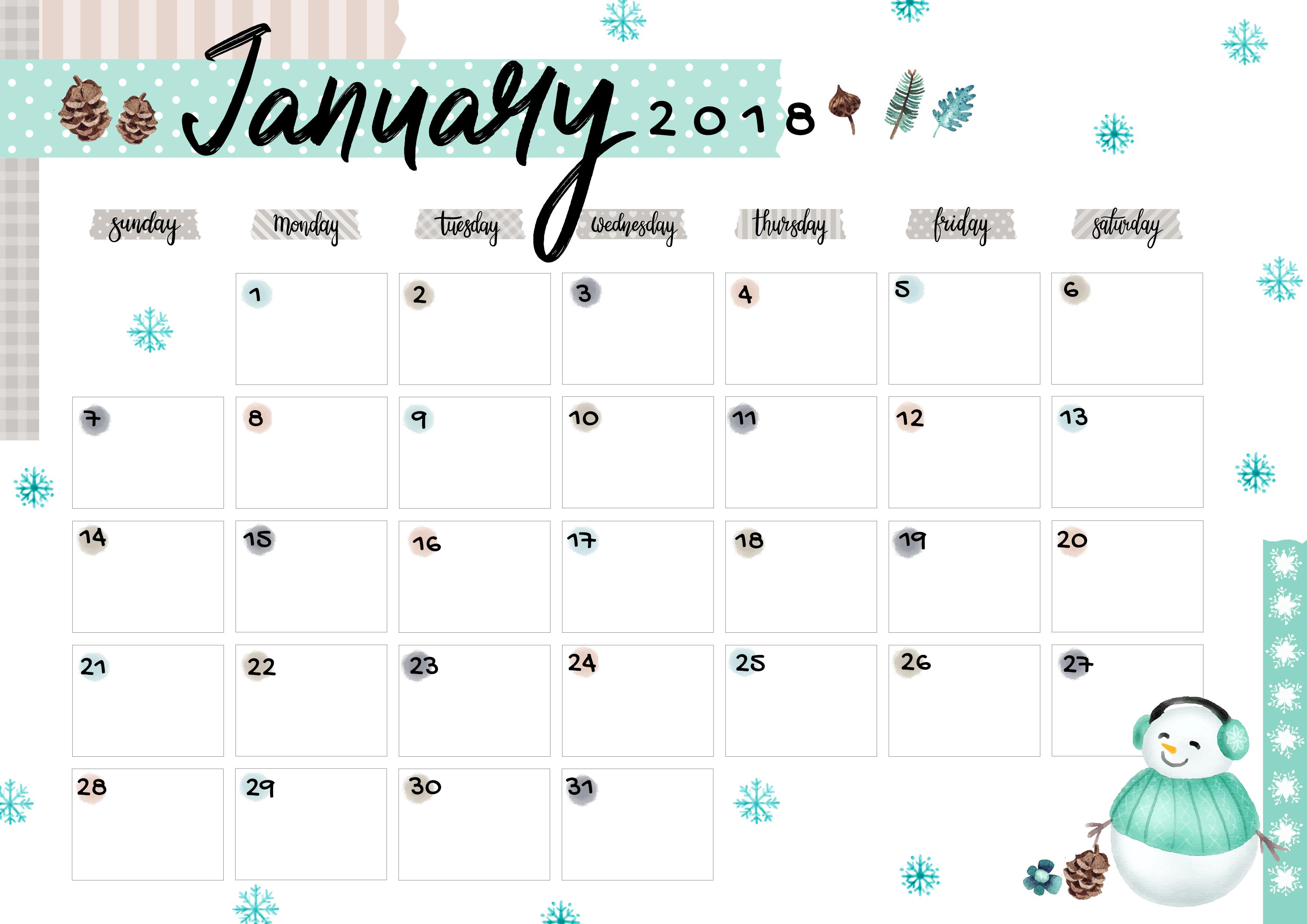 January Printable Colorful Calendar Free Download