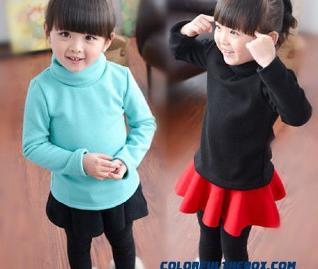 Cheap Girls Solid Color Shirt Autumn Kids Winter High Necked Cotton Close Fitting Long Sleeved T Shirt Sale Online