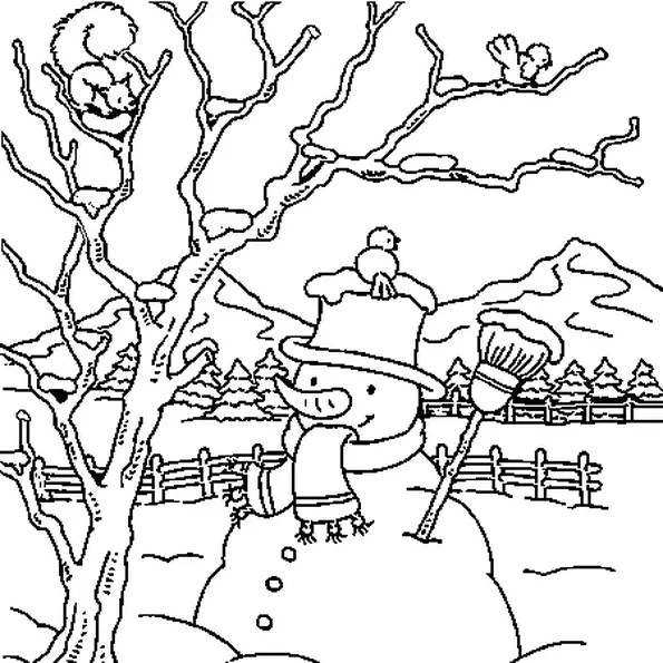 Coloriage paysage de neige