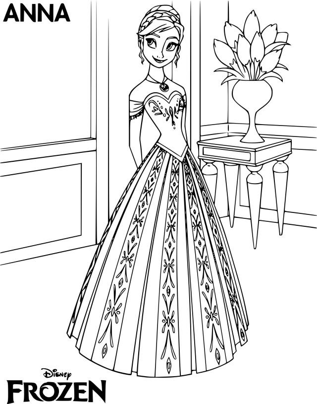 Coloriage princesse Anna à imprimer
