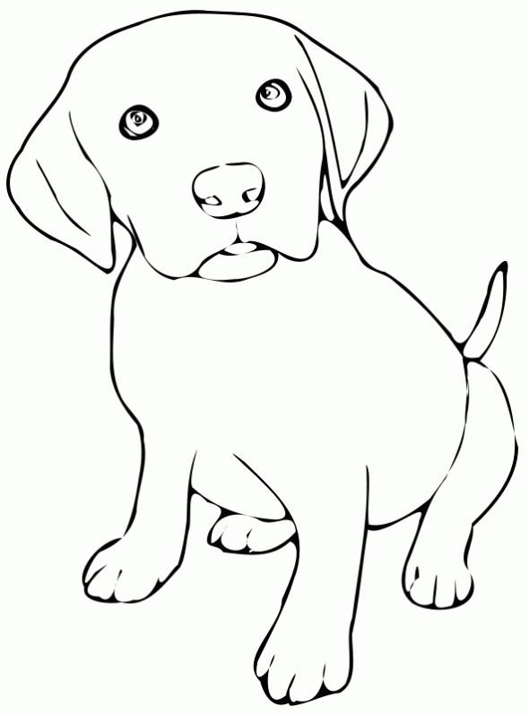 Coloriage Petit Chien avec adorables yeux dessin gratuit à