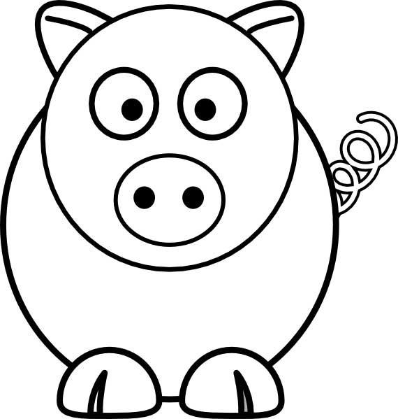 Coloriage Cochon surpris dessin gratuit à imprimer