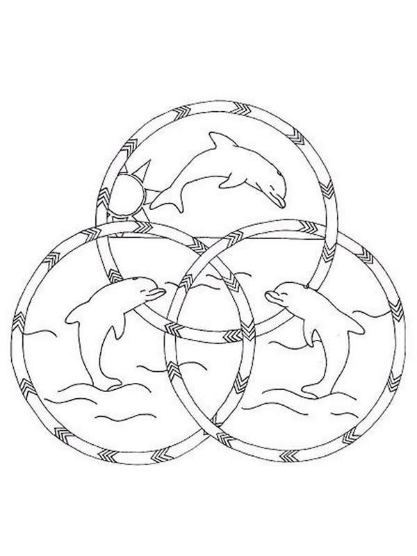 Coloriage Dauphin mandala dessin gratuit à imprimer