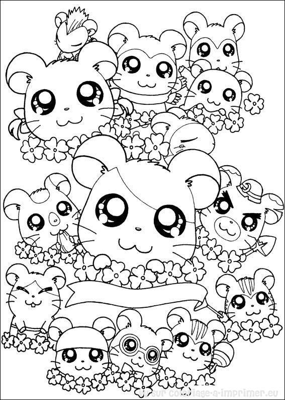 Coloriage Hamsters trop mignons dessin gratuit à imprimer