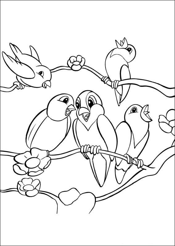 Coloriage Oiseaux en train de chanter dessin gratuit à