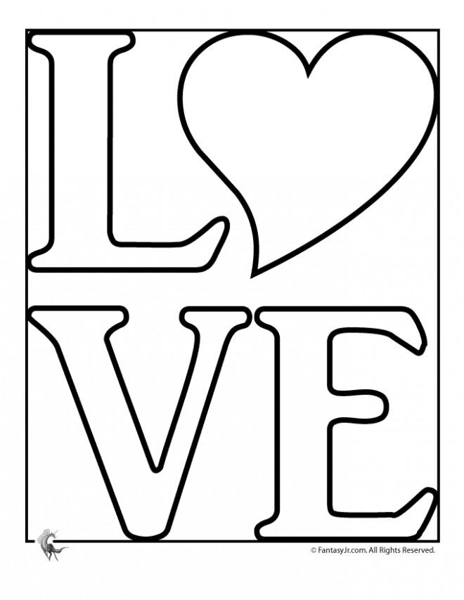 Coloriage Expression d'amour facile dessin gratuit à imprimer