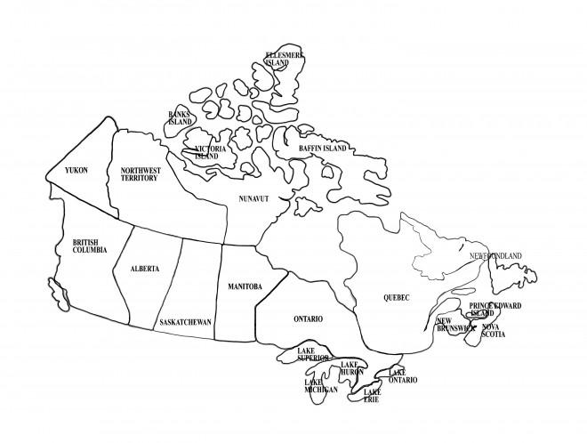 Coloriage Provinces Canada sur la carte dessin gratuit à