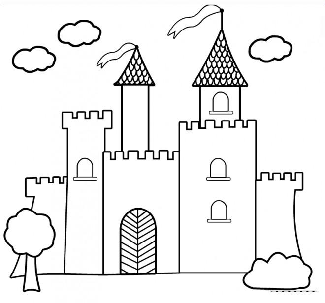 Coloriage château vecteur dessin gratuit à imprimer