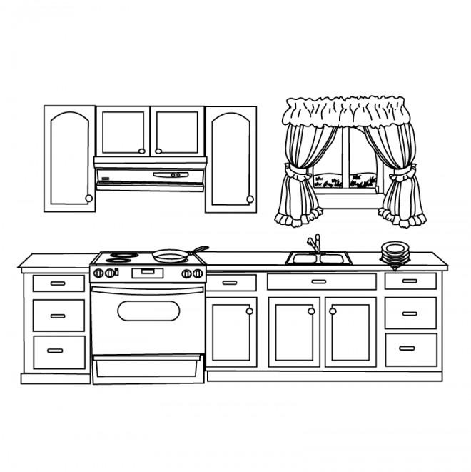 Coloriage Cuisine maternelle dessin gratuit à imprimer