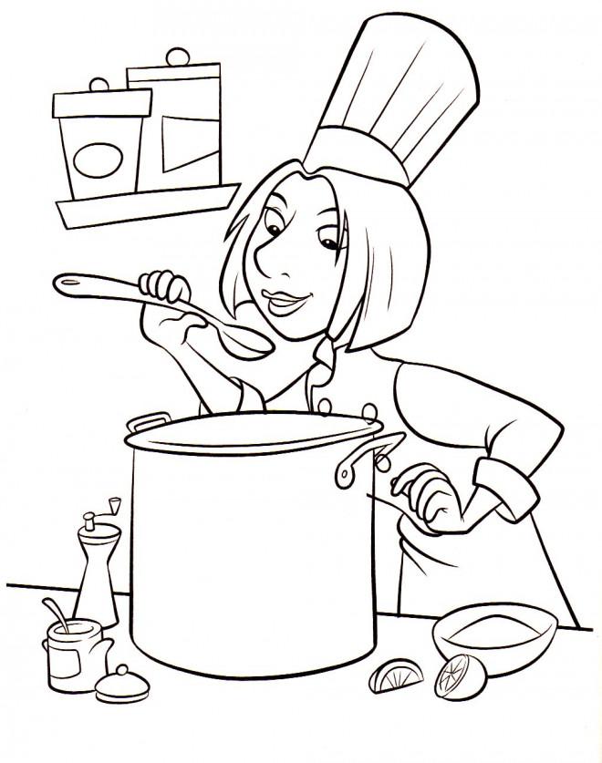 Coloriage Cuisinier à la cuisine dessin gratuit à imprimer
