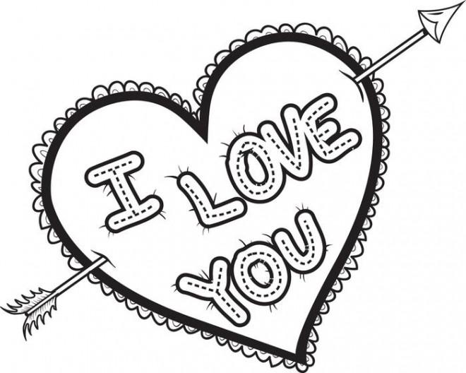 Coloriage I Love You Expression d'amour dessin gratuit à