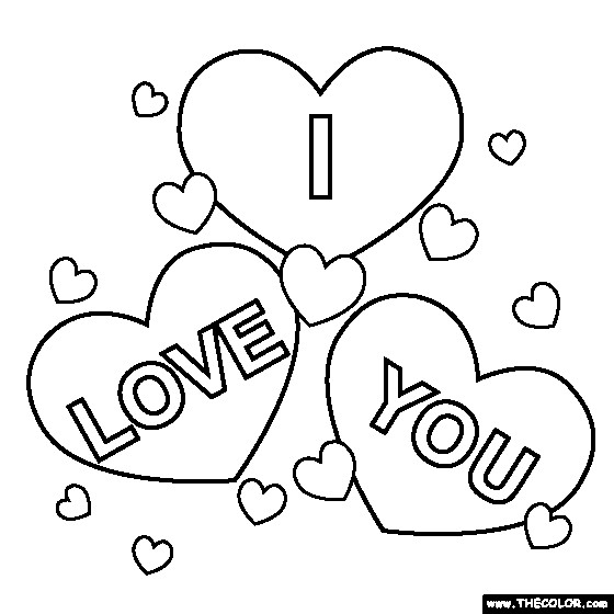 Coloriage I Love You maternelle dessin gratuit à imprimer