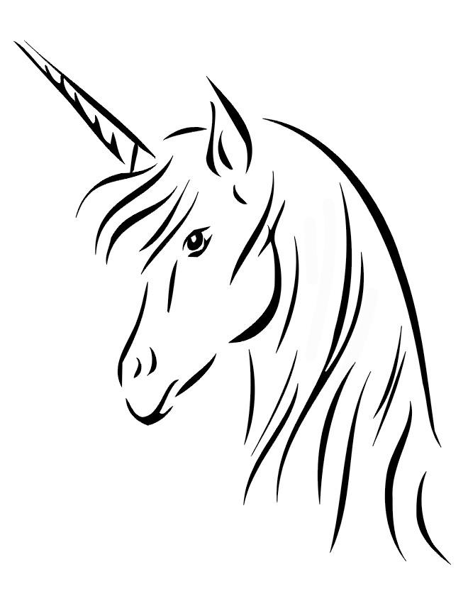 Coloriage Tête de Licorne vectoriel dessin gratuit à imprimer