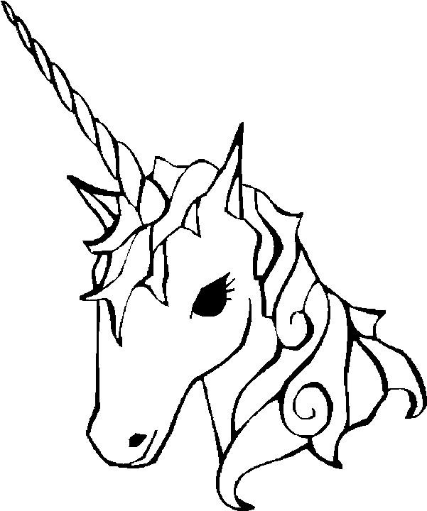 Coloriage Tête Licorne dessin gratuit à imprimer