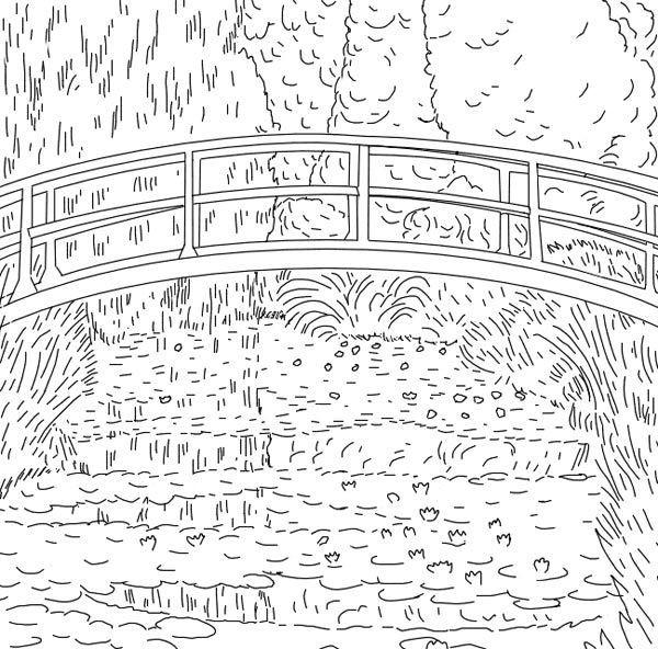 Coloriage Paysage de Pont de Claude Monet dessin gratuit à