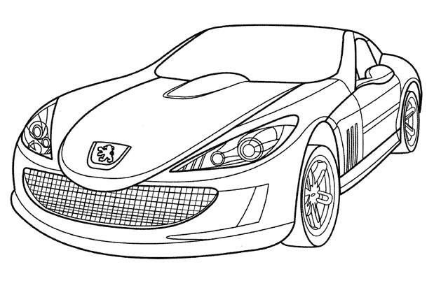 Coloriage Voiture de Luxe Peugeot dessin gratuit à imprimer