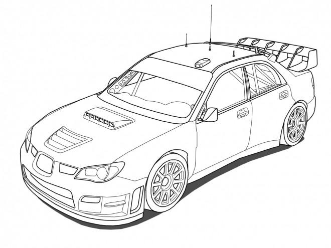 Coloriage Voiture de Rallye WRC dessin gratuit à imprimer