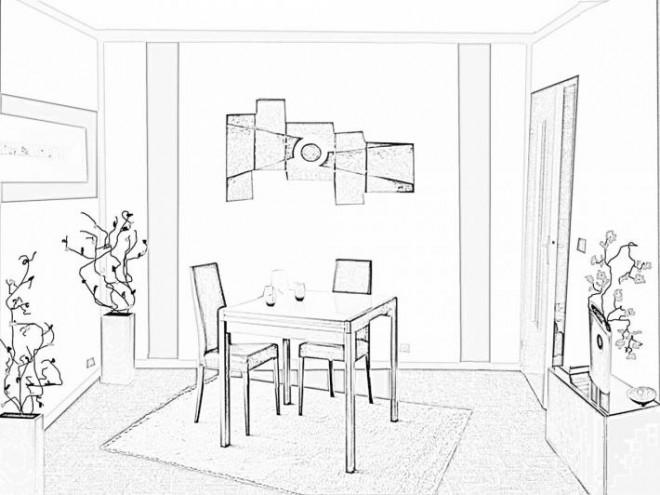 coloriage image de salle a manger