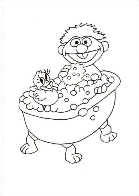 coloriage enfant dans une baignoire