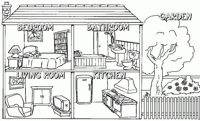 Coloriage Intérieur maison dessin gratuit à imprimer