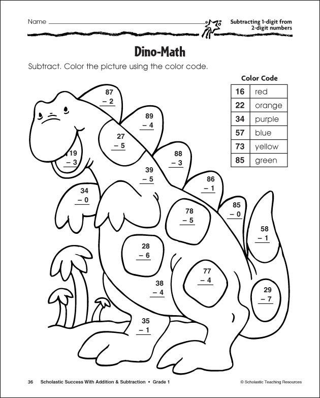 Coloriage Soustraction Dinosaure dessin gratuit à imprimer