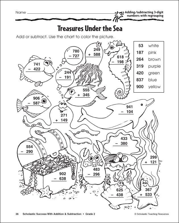 Coloriage Soustraction Fond marin dessin gratuit à imprimer