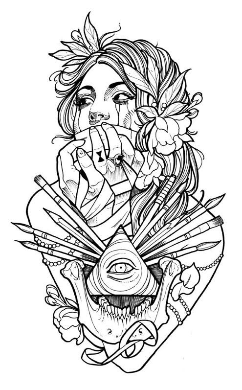 Coloriage Tatouage Femme dessin gratuit à imprimer