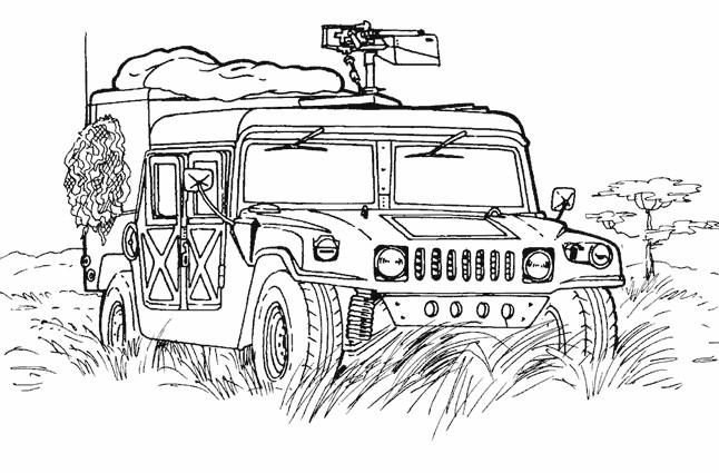 Coloriage Véhicule militaire dessin gratuit à imprimer
