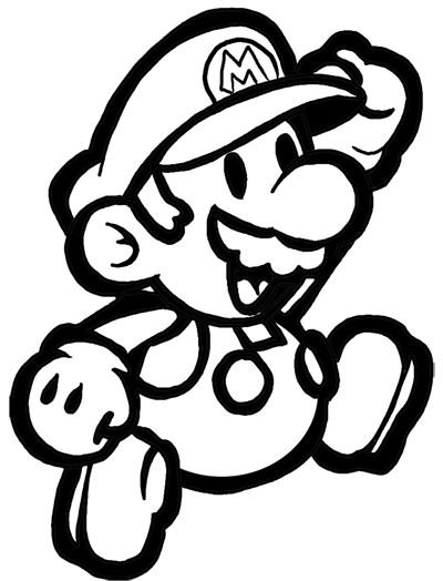 Coloriage Mario en souriant dessin gratuit à imprimer