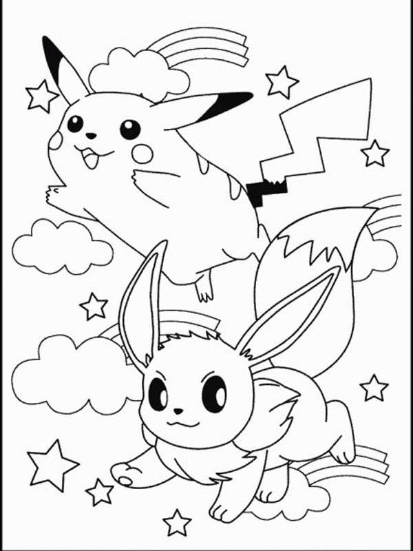 Coloriage Pikachu et Evoli dessin gratuit à imprimer