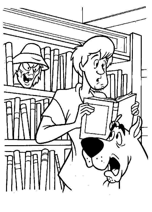 Coloriage Scooby doo et Sammy en bibliothèque