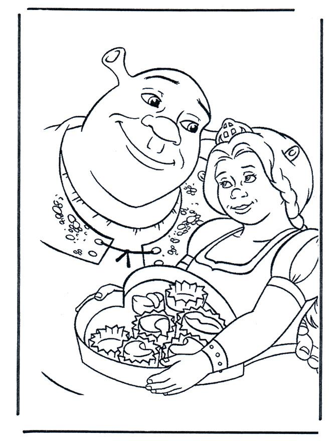 Coloriage Les amoureux Shrek et Fiona dessin gratuit à