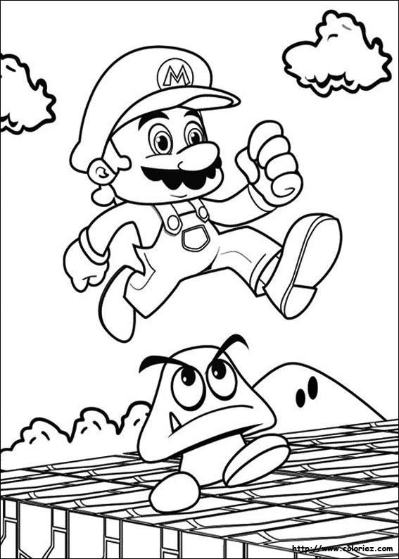 Coloriage Mario et champignon facile dessin gratuit à imprimer