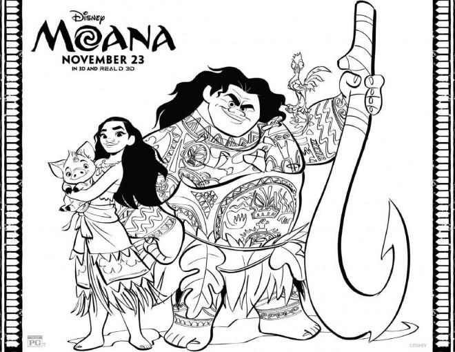 Coloriage Moana Disney le film dessin gratuit à imprimer