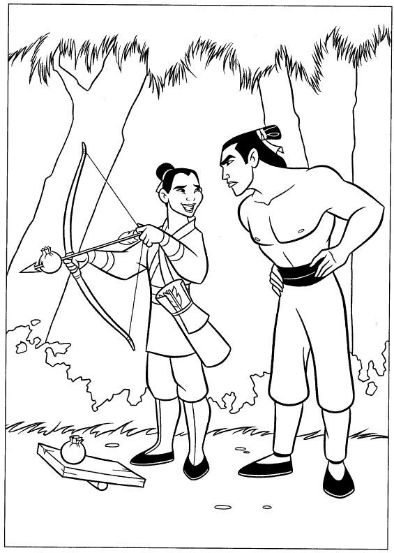 Coloriage Mulan déguisée en un homme
