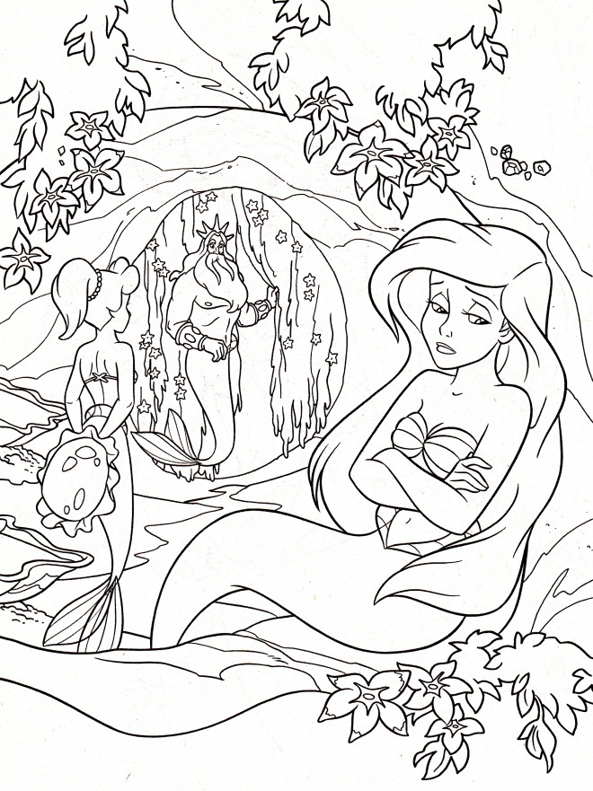 Coloriage Princesse Ariel est triste dessin gratuit à imprimer