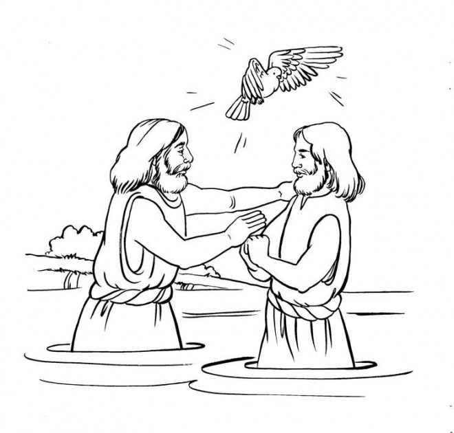 Coloriage Baptême de Jésus et La Colombe