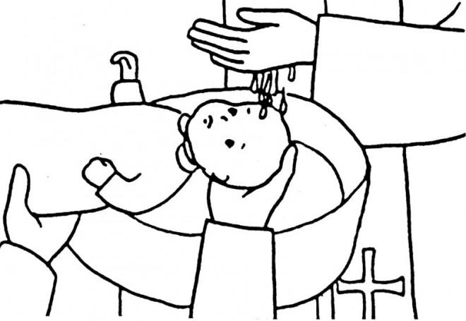 Coloriage Baptême religieux dessin gratuit à imprimer