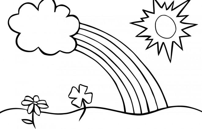 Coloriage Paysage de arc-en-ciel dessin gratuit à imprimer