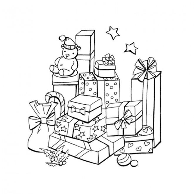 Coloriage Cadeaux De Noel En Noir Et Blanc Dessin Gratuit