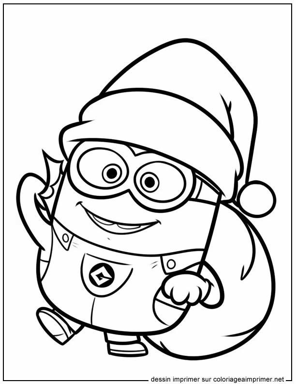 Coloriage Minion Noel dessin gratuit à imprimer