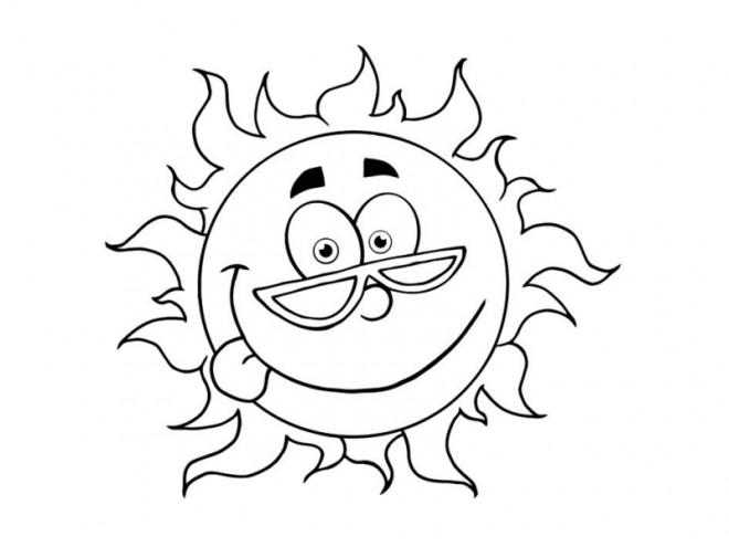 Coloriage Le Soleil avec visage dessin gratuit à imprimer