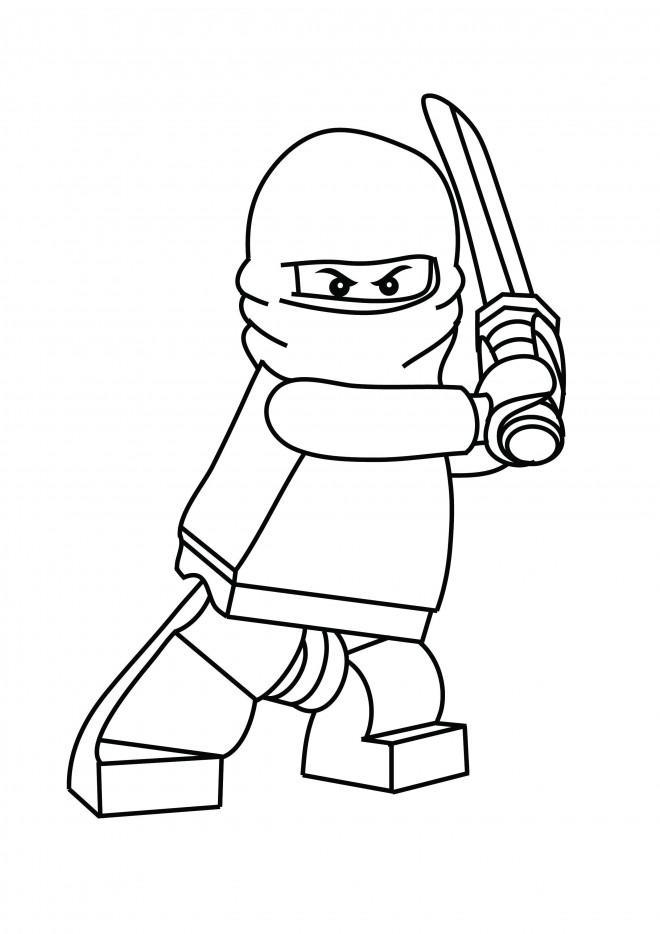 Coloriage Lego Ninjago Cole portant son épée