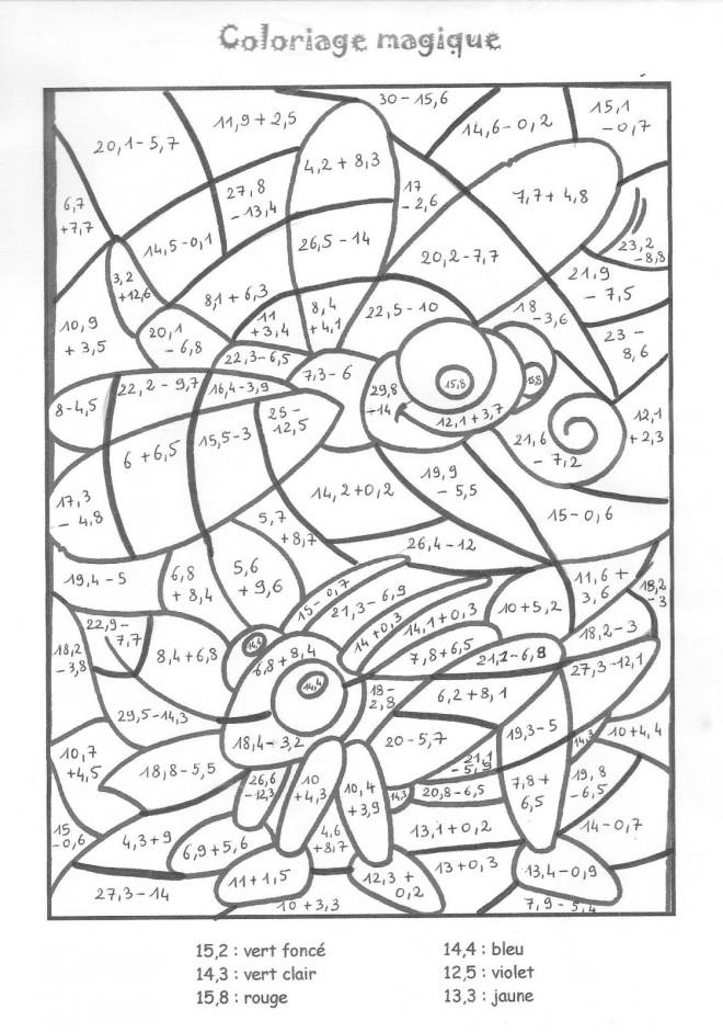 Coloriage Magique Addition Insectes dessin gratuit à imprimer