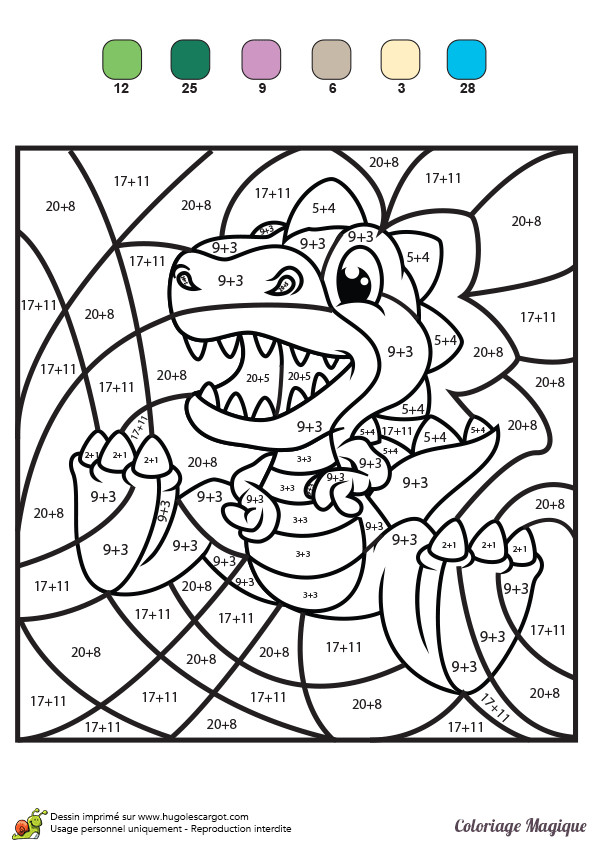 Coloriage Magique Addition Le petit Dinosaure dessin