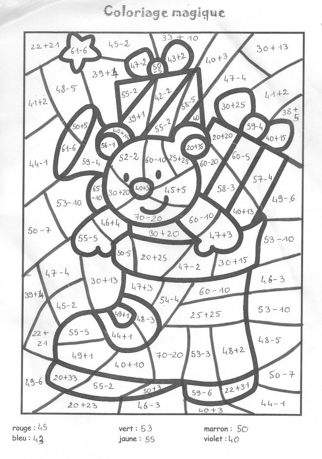 Coloriage Magique Addition Noel dessin gratuit à imprimer