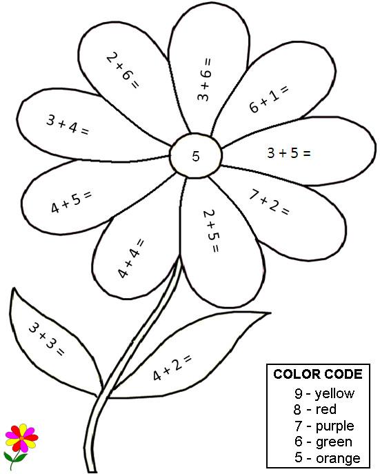 Coloriage Magique Addition pétales et feuilles de fleur