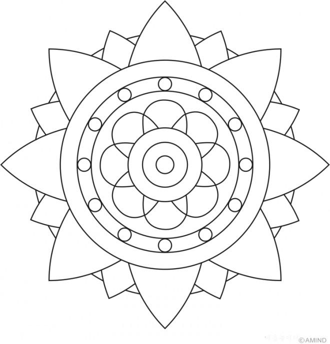 Coloriage Mandala Fleur stylisée dessin gratuit à imprimer