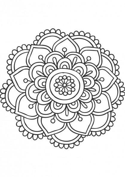 Coloriage Mandala Fleurs à découper