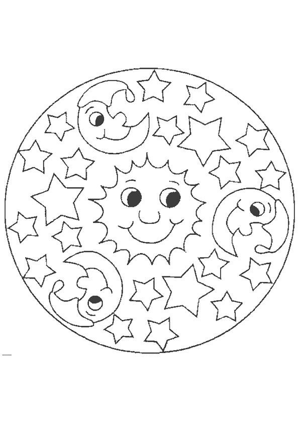 Coloriage Mandala Soleil et Lune dessin gratuit à imprimer